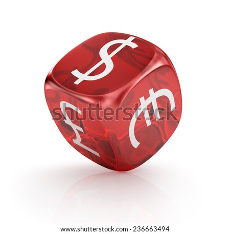 currency in the red dices on white background. - stock photo