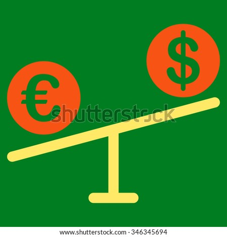 Currency Market glyph icon. Style is bicolor flat symbol, orange and yellow colors, rounded angles, green background.