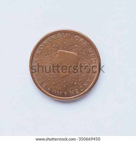 Currency of Europe 2 cent coin from Netherlands