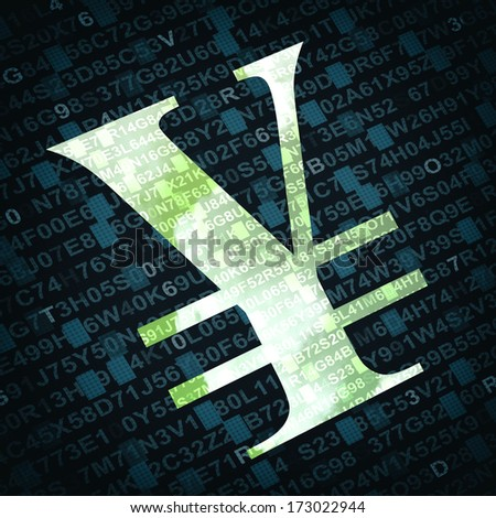 Currency sign of Yen or Yuan with numbers and letters on background - stock photo