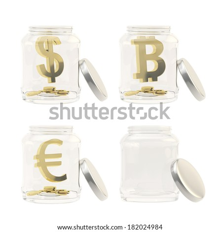 Currency sign with coins in a jar isolated over white background, set of four, golden dollar, euro, bitcoin signs and empty jar - stock photo
