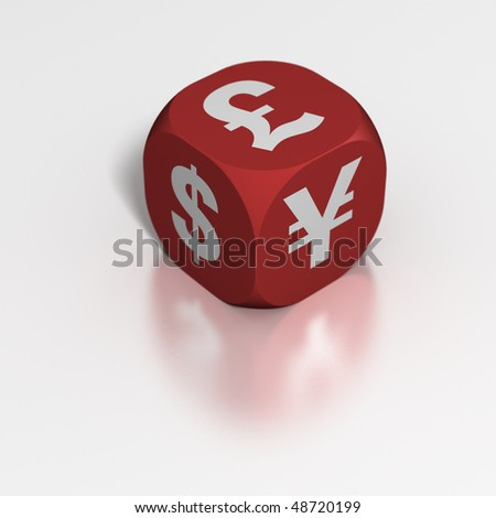 Currency speculation dice - stock photo