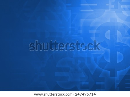 Currency symbol on bright blue for financial business background
