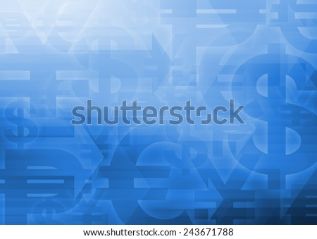 Currency symbol with arrow head on bright blue background