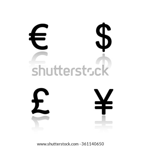Currency symbols drop shadow icons set. Money signs. Usa dollar and Great Britain pound. Japanese yen and Europe euro emblem. Black cast shadow silhouettes illustrations. Raster infographics elements - stock photo