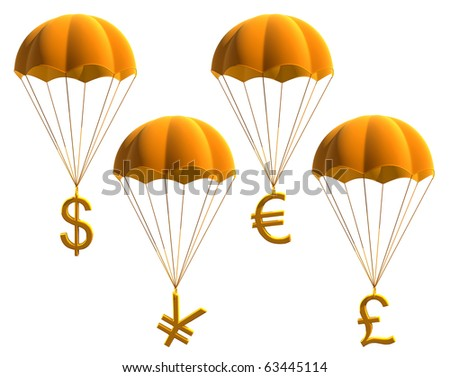 currency symbols on a parachute