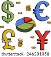 Currency symbols on a white background raster version - stock photo