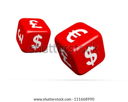Currency symbols on dices, euro, dollar and sterling, on white background. - stock photo