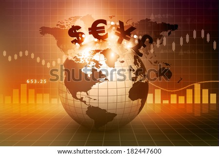 Currency symbols on Earth. Financial background 		 - stock photo