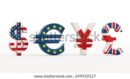 Currency symbols with country flags isolated on white.