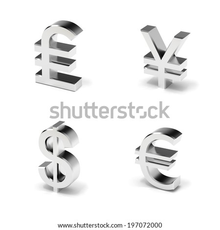 Currency symbols with shadow - stock photo