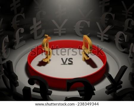 currency war. (economy war) - stock photo
