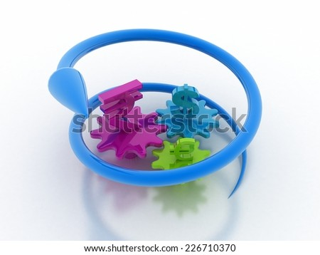 currency with gear rottating  arrow stock image - stock photo