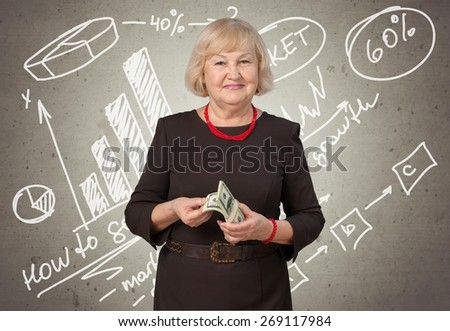 Currency. Woman Holding Money - stock photo
