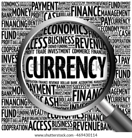 CURRENCY word cloud with magnifying glass, business concept 3D illustration