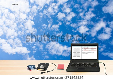 Current data storage technology, cloud storage. - stock photo