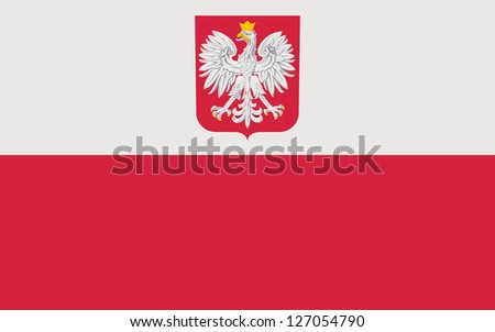 Current national flag with coat of arms of the Republic of Poland. Complies to the attachment no.3 to the Coat of Arms Act. Proper ratio (5:8) and colors. Adopted August 1 1919, last modified in 1990. - stock photo