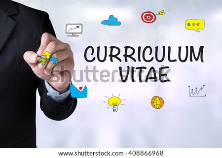 CURRICULUM VITAE and Businessman drawing Landing Page on blackboard - stock photo