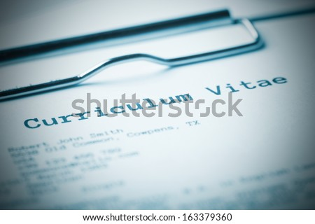 Curriculum vitae. Blue toned image - stock photo