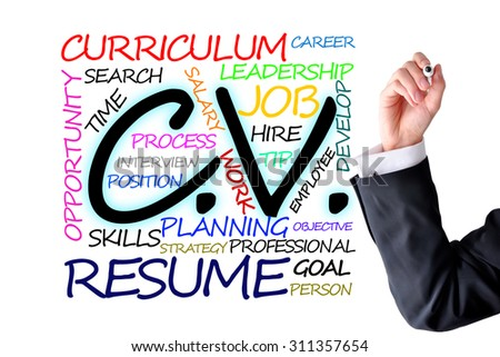 Curriculum vitae or resume text with human hand - stock photo