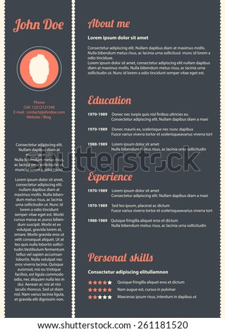 Curriculum vitae with special modern design - stock photo