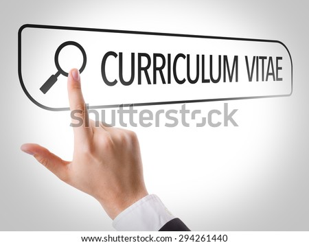 Curriculum Vitae written in search bar on virtual screen - stock photo