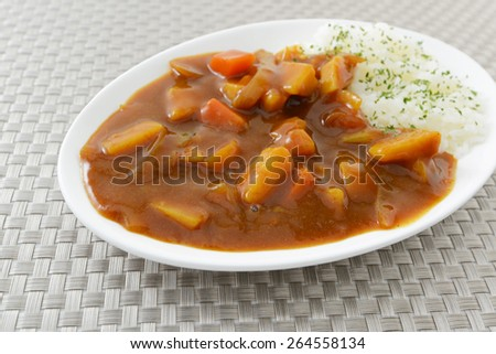 Curry and rice - stock photo