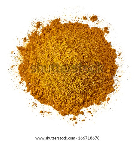 Curry pile from top on white background - stock photo