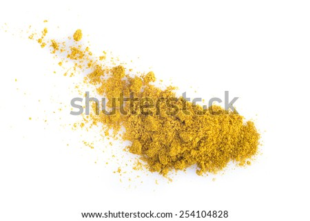 Curry powder isolated on a white background - stock photo