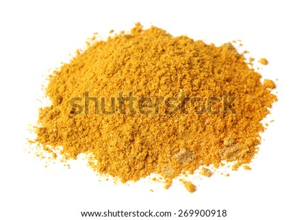 Curry powder on white background