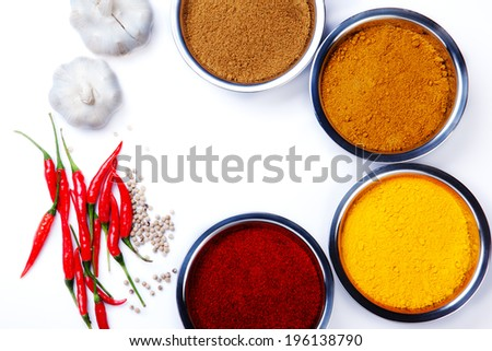 curry powder with chili ,garlic,pepper ingredients - stock photo