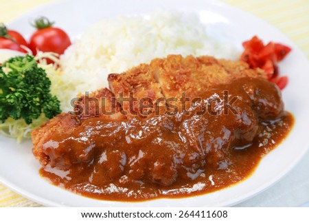 curry rice with a cutlet/japanese food