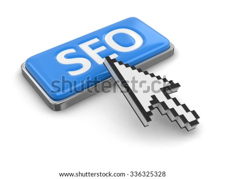 Cursor and button SEO. Image with clipping path - stock photo