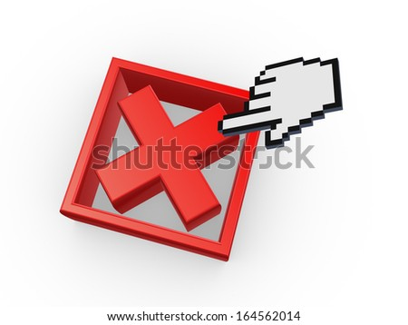 Cursor and symbol of cross mark.Isolated on white.3d rendered. - stock photo