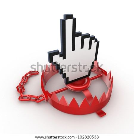 Cursor on a red trap.Isolated on white background.3d rendered. - stock photo