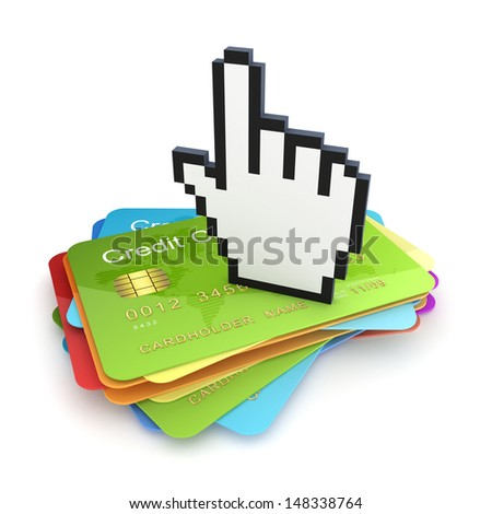 Cursor on stack of credit cards.Isolated on white.3d rendered. - stock photo