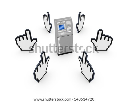 Cursors around ATM.Isolated on white.3d rendered. - stock photo