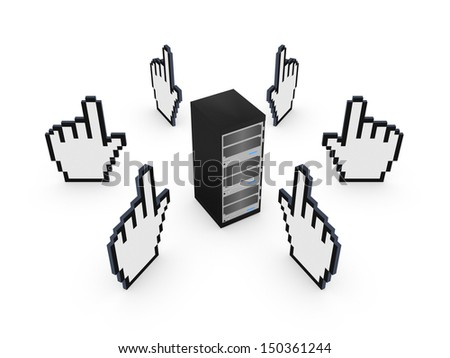Cursors around server.Isolated on white.3d rendered. - stock photo