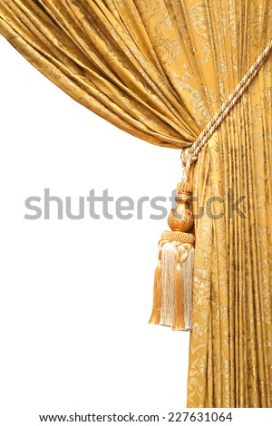 curtain gold isolated on white with clipping path - stock photo