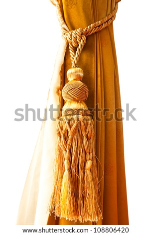curtain gold, on a white background - stock photo