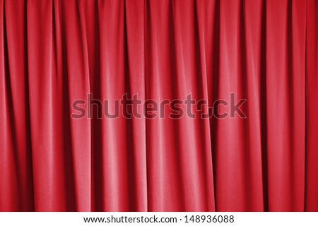 curtain of cinema stage background, red dramatic tone - stock photo
