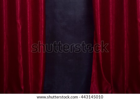 curtain open red dark black dirty - stock photo