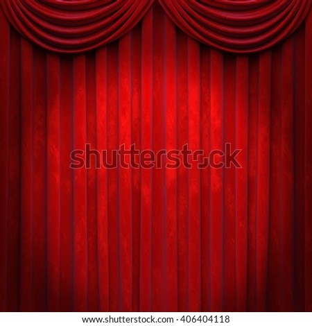 Curtain or drapes red background. 3D illustration