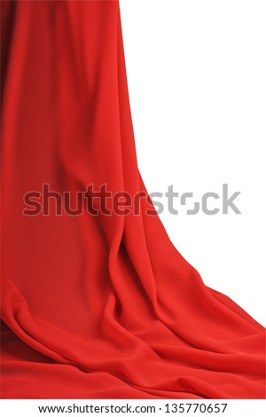 curtain red fabric on a white background