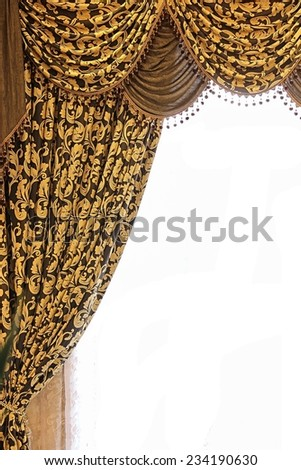 Curtain with complex pattern texture background. Left part. - stock photo