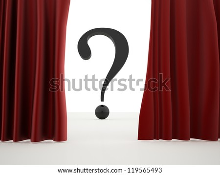 Curtain with question mark