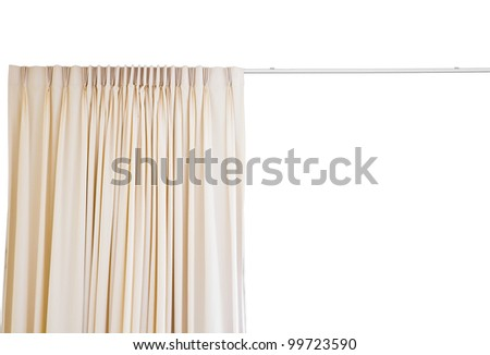 curtain with rail on white background - stock photo