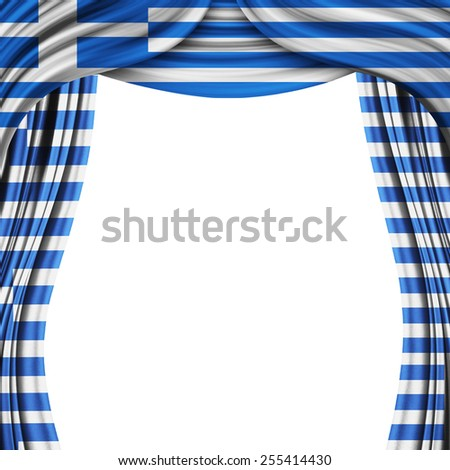 curtain with  the flag of the Greece  - stock photo