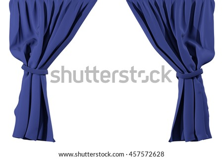 Curtains isolated on white background. Include clipping path. 3d render
