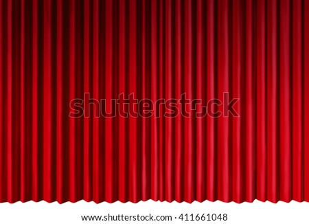 Curtains object as red velvet drapes representing theatrical entertainment stage isolated on a white background as a 3D illustration. - stock photo
